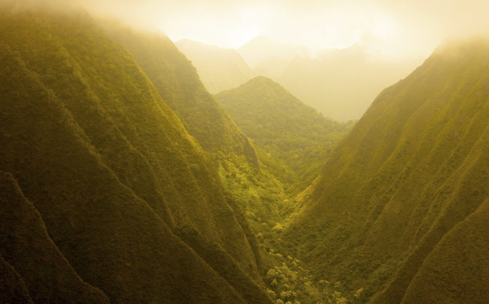 Professional travel landscape photograph taken between mountains covered with deep green foliage in a hazy yellow sunlight.